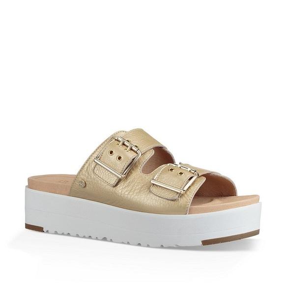 4a3c4472117 UGG Cammie Gold Metallic Slide Sandals Sz 5.5